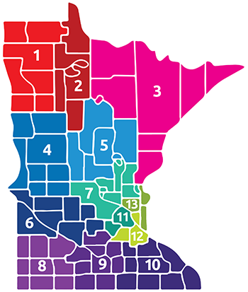Large color-coded map of Special Olympics Areas in Minnesota