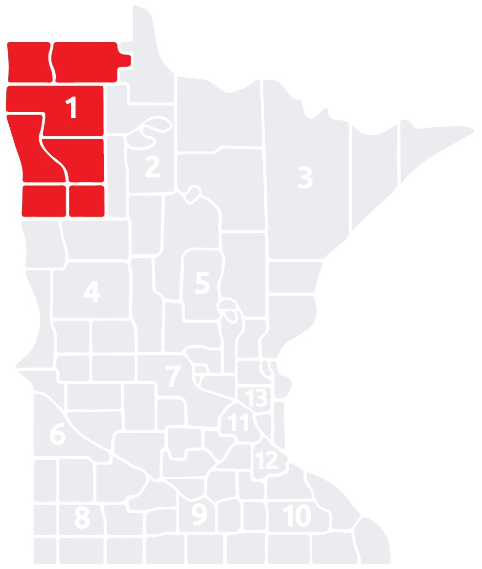Special Olympics Minnesota Area 1 map