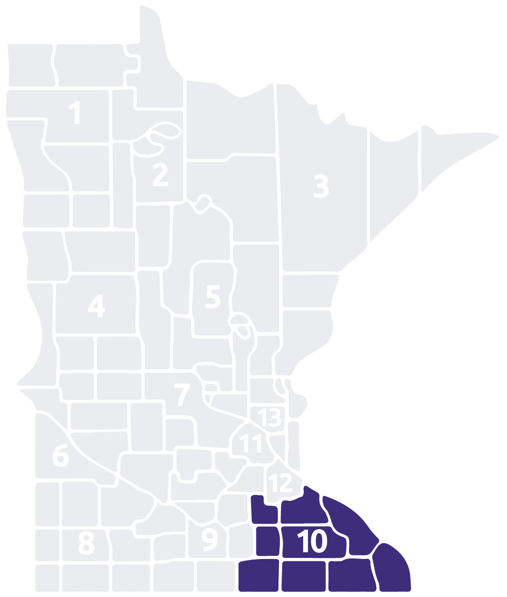 Special Olympics Minnesota Area 10 map