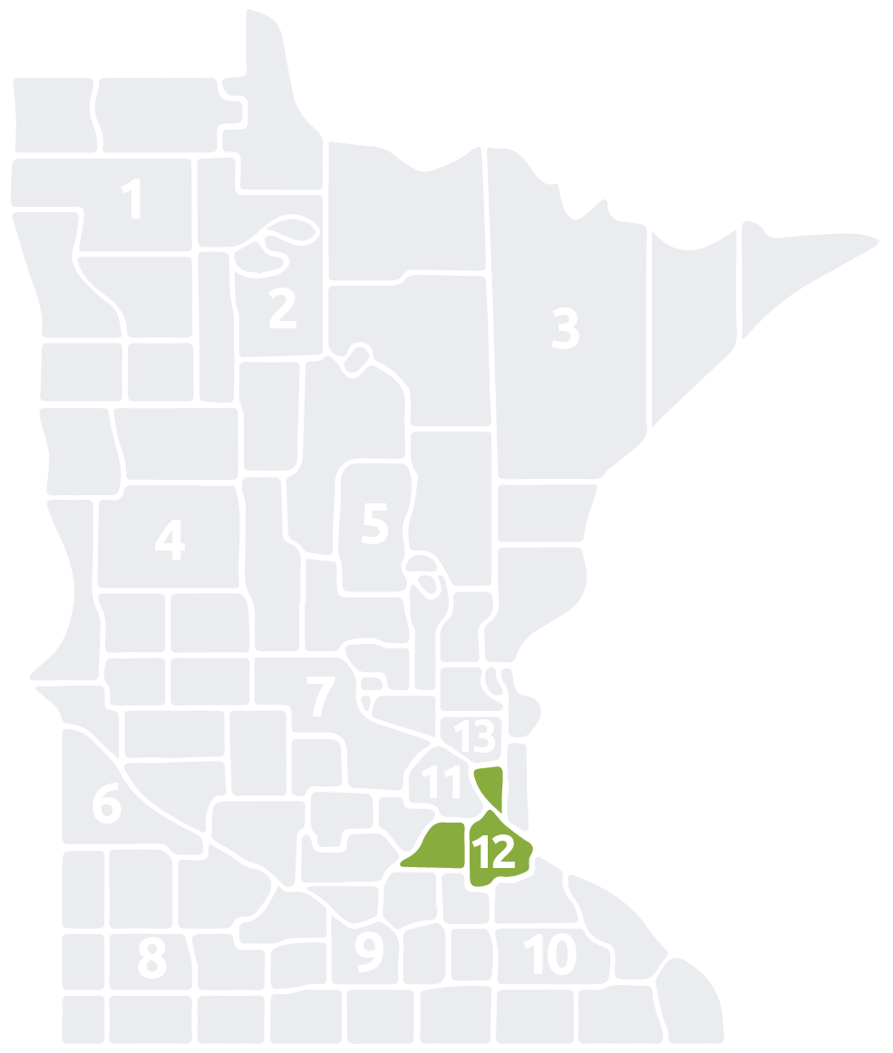 Special Olympics Minnesota Area 12 map
