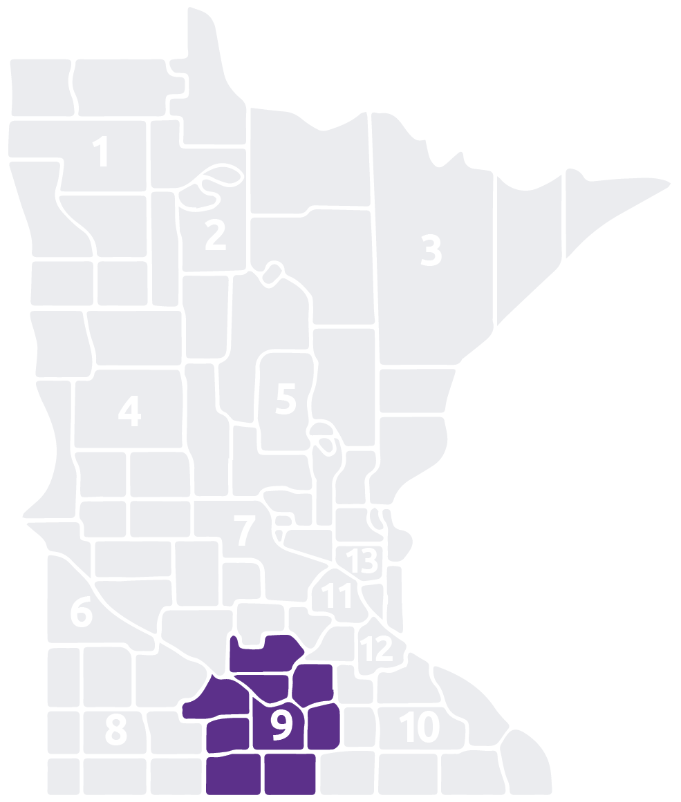 Special Olympics Minnesota Area 9 map